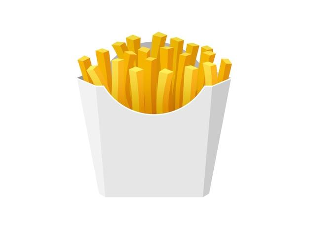 Pommes de terre frites savoureux fast street food dans une boîte en carton de papier blanc bâtonnets de pommes de terre frites