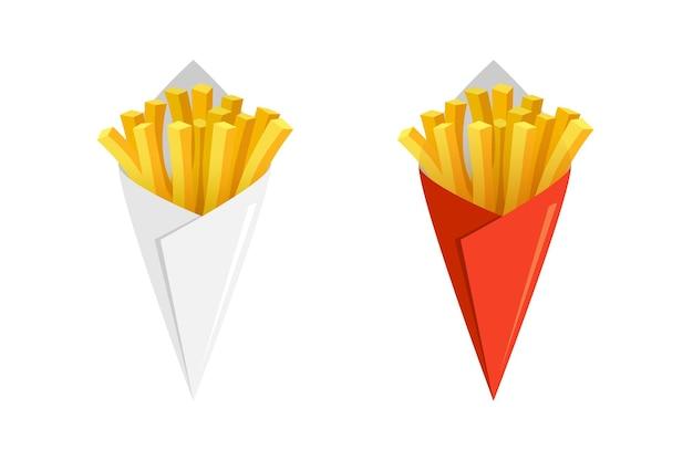 Pommes de terre frites savoureux fast street food dans un cône de papier blanc et rouge bâtonnets de pommes de terre frites