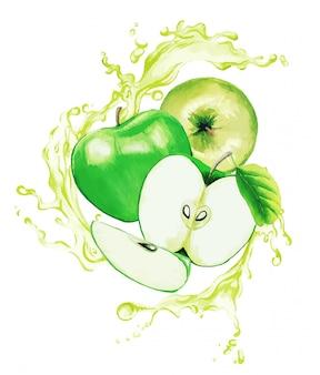 Pommes vertes dans les éclaboussures de jus vert clair