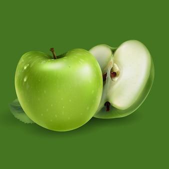 Pommes vertes sur fond vert