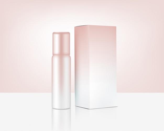 Pompe de bouteille de pulvérisation maquette cosmétique et boîte en or rose réaliste pour produit de soin de la peau