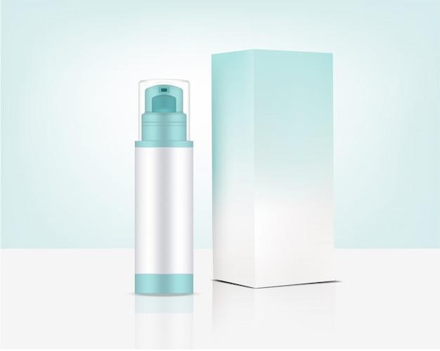 Pompe de bouteille de pulvérisation maquette cosmétique et boîte organiques réalistes pour produit de soin de la peau