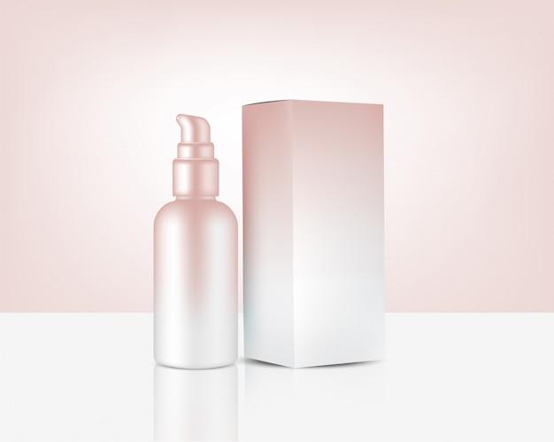 Pompe de bouteille de pulvérisation maquette cosmétique et boîte réalistes en or rose pour produit de soin de la peau