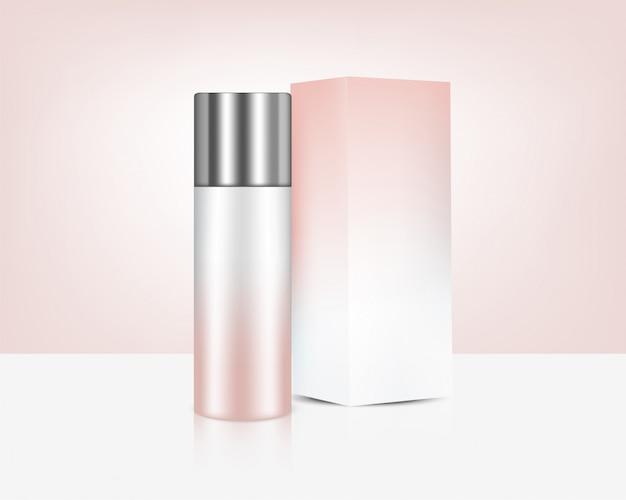 Pompe bouteille réaliste rose or parfum savon cosmétique, couvercle en argent et boîte pour l'illustration de fond de produit de soin. soins de santé et conception de concept médical.