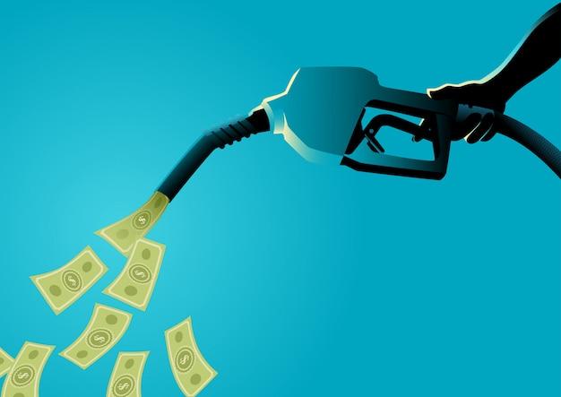 Pompe à carburant verser de l'argent