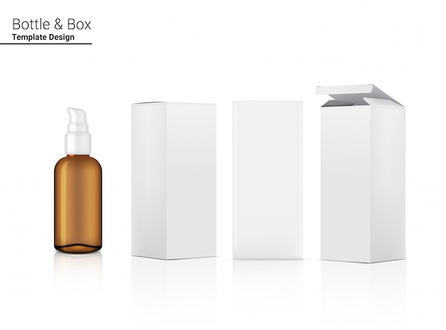 Pompe de pulvérisation bouteille ambre transparente maquette cosmétique réaliste et boîte