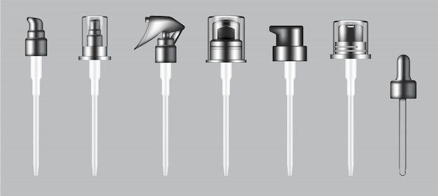 Pompe réaliste 3d, compte-gouttes et capuchon de pulvérisation pour bouteille de beauté cosmétique isolé fond illustration.