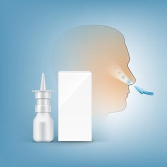 Pompe spray nasal avec boîte blanche vierge et silhouette de tête humaine