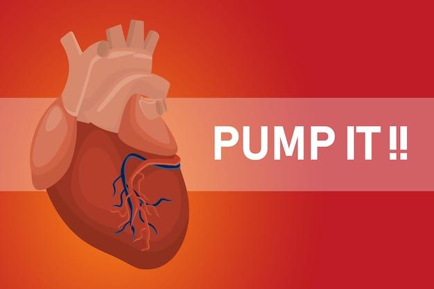 Pomper l'affiche de coeur pour des coeurs en bonne santé