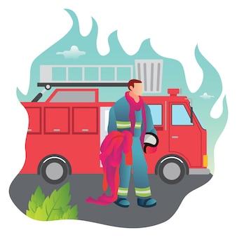 Un pompier a l'air fatigué après s'être battu avec un incendie dans la capitale