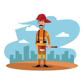 Pompier casque hache paysage urbain uniforme fête du travail