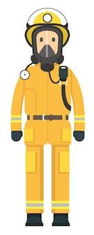 Pompier en devoir portant un masque