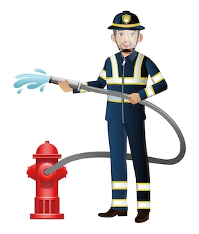 Pompier avec différentes poses