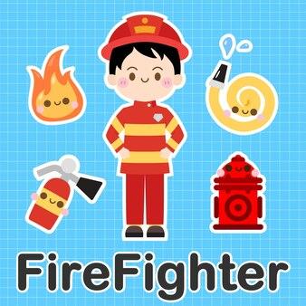 Pompier - ensemble de personnage de dessin animé mignon kawaii occupation