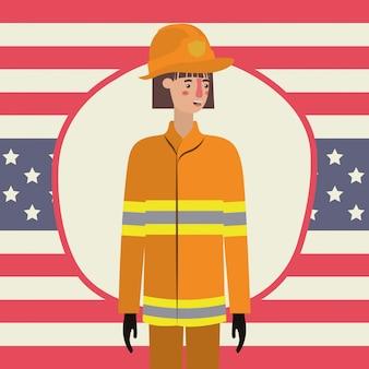 Pompier, femme, jour travail