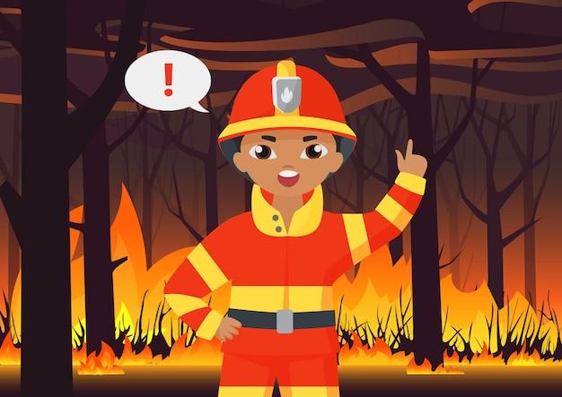 Pompier garçon pompier en uniforme de protection avertissant de la catastrophe d'un incendie de forêt.
