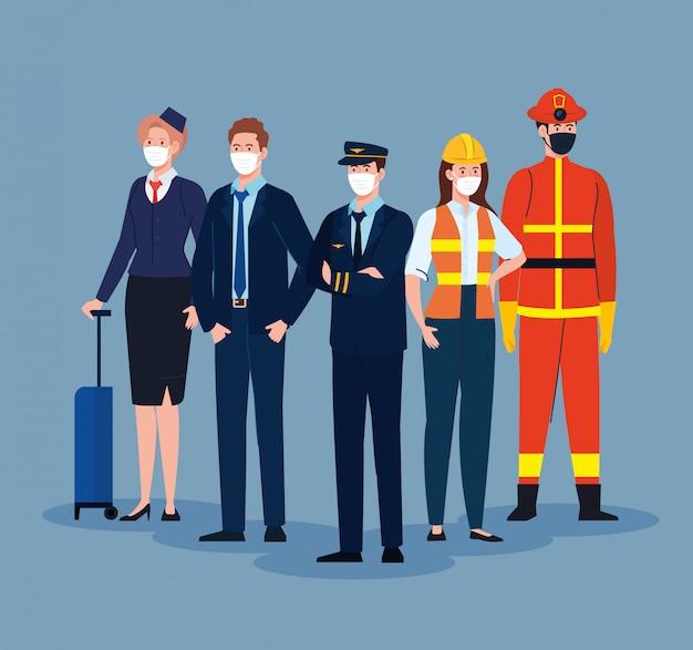 Pompier avec groupe de travailleurs, travailleurs portant un masque médical contre le coronavirus