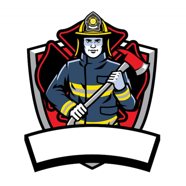 Pompier, poser, tenir, hache, insigne