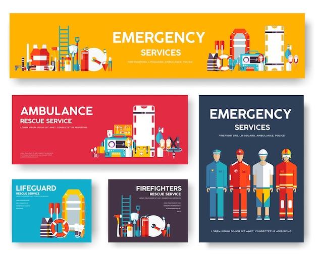 Pompier, rafting, police, ensemble de modèles de cartes de sauvetage en médecine. de flyear, magazines.