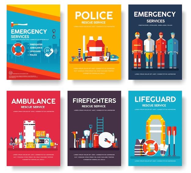 Pompier, rafting, police, ensemble de modèles de cartes de sauvetage en médecine