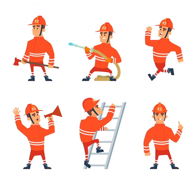 Pompier sur le travail. différentes poses d'action