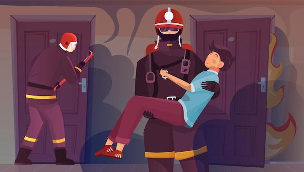 Les pompiers abritent des personnes composition à plat avec vue sur les portes de l'appartement avec un garçon sauvé sur l'illustration des mains des pompiers