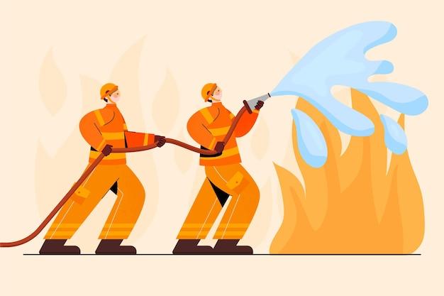 Pompiers dessinés à la main éteindre un incendie