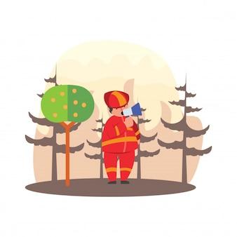 Pompiers, donnant des avertissements par haut-parleurs sur les incendies dans le personnage de dessin animé de feux de forêt