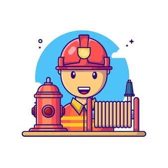 Pompiers Avec Illustration De Dessin Animé D'équipement. Concept De Fête Du Travail Blanc Isolé. Style De Bande Dessinée Plat Vecteur Premium