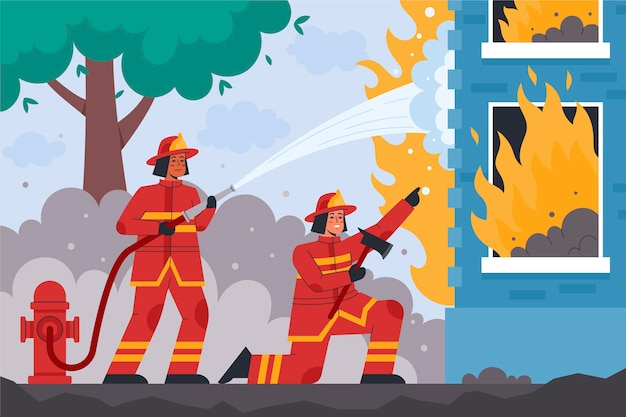 Pompiers illustrés éteindre un incendie