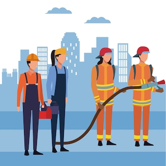 Pompiers en ville