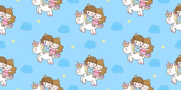 Poney de princesse de dessin animé de licorne sans soudure voler sur un animal kawaii de ciel