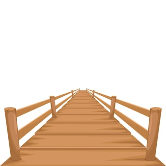 Pont en bois isolé sur blanc