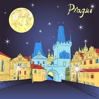 Pont charles à prague république tchèque à l'éclairage de nuit