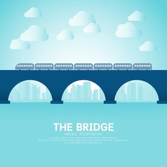 Pont dans le style plat avec le bâtiment et le train.