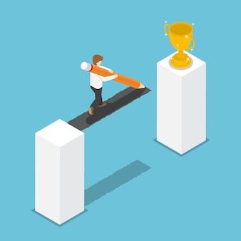 Pont de dessin d'homme d'affaires isométrique 3d plat au crayon menant au trophée du gagnant. créer un chemin vers le concept de réussite.