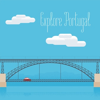 Pont dom luis à porto, portugal vector illustration