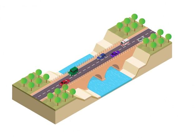 Pont isométrique sur la rivière