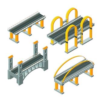 Pont isométrique, route de la voie rapide de la ville, câblage de la collection d'auto-infrastructures urbaines urbaines viaduc 3d low poly