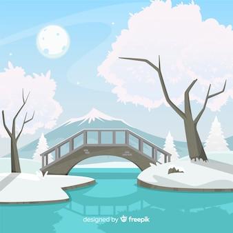 Pont paysage d'hiver