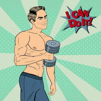 Pop art athletic strong man exercice avec des haltères. illustration