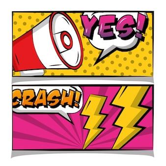 Pop art bande dessinée bannière haut-parleur chrash oui texte rétro