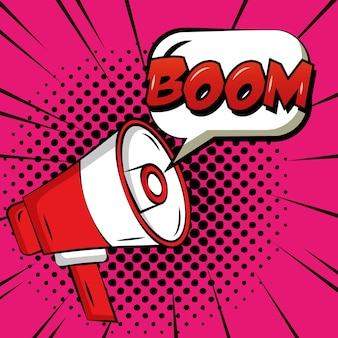 Pop art bande dessinée bulle boom mégaphone fond de points vintage