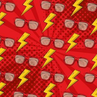 Pop art bande dessinée humour lunettes et rayons demi-teinte