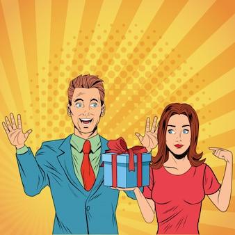 Pop art business couple avec présent dessin animé