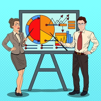 Pop art business woman and businessman with pointer stick presenting business chart.
