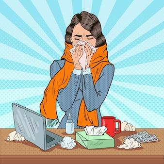 Pop art business woman éternue au travail fille se sentant malade