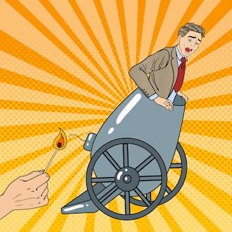 Pop art cannon business man se fait virer.