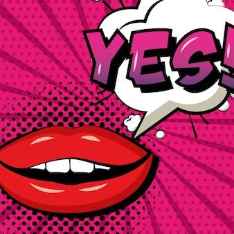 Pop art comique femme lèvres oui bulle de dialogue