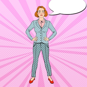 Pop art élégante femme d'affaires réussie confiante.
